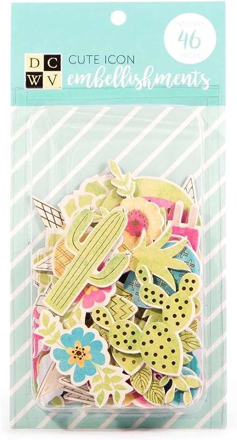 American Crafts DCWV Cute icono adornos – Scrapbooking accesorios y decoración – varios formas y patrones, 46 piezas: Amazon.es: Juguetes y juegos