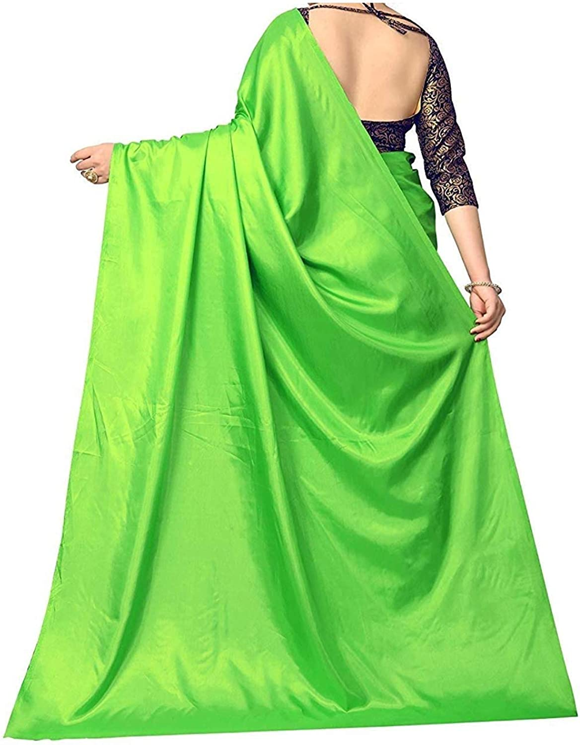 Indofashion Indian Women Plain Satin Silk Saree with Blouse Piece Daily Use Casual Party Dress