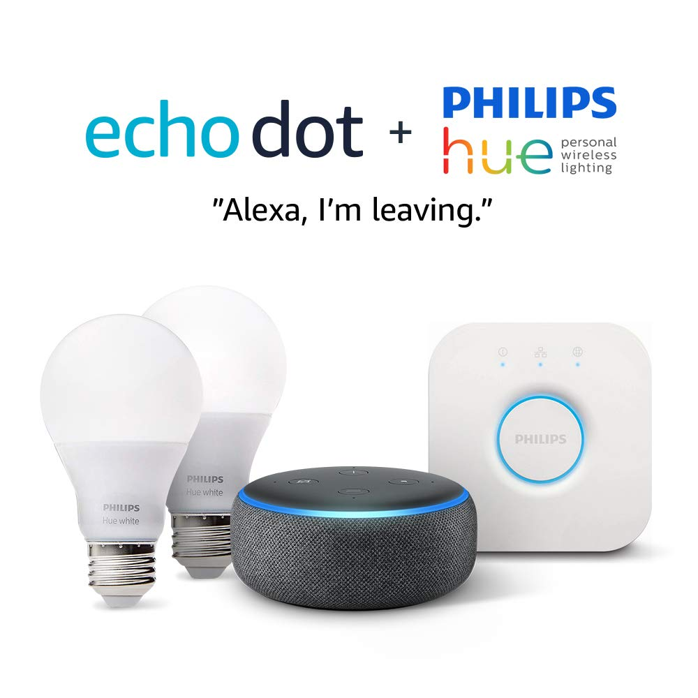 Echo Dot (3rd Gen) - Charcoal with Philips Hue White Smart Light Bulb Starter Kit (All US Residents) by Amazon (Image #3)