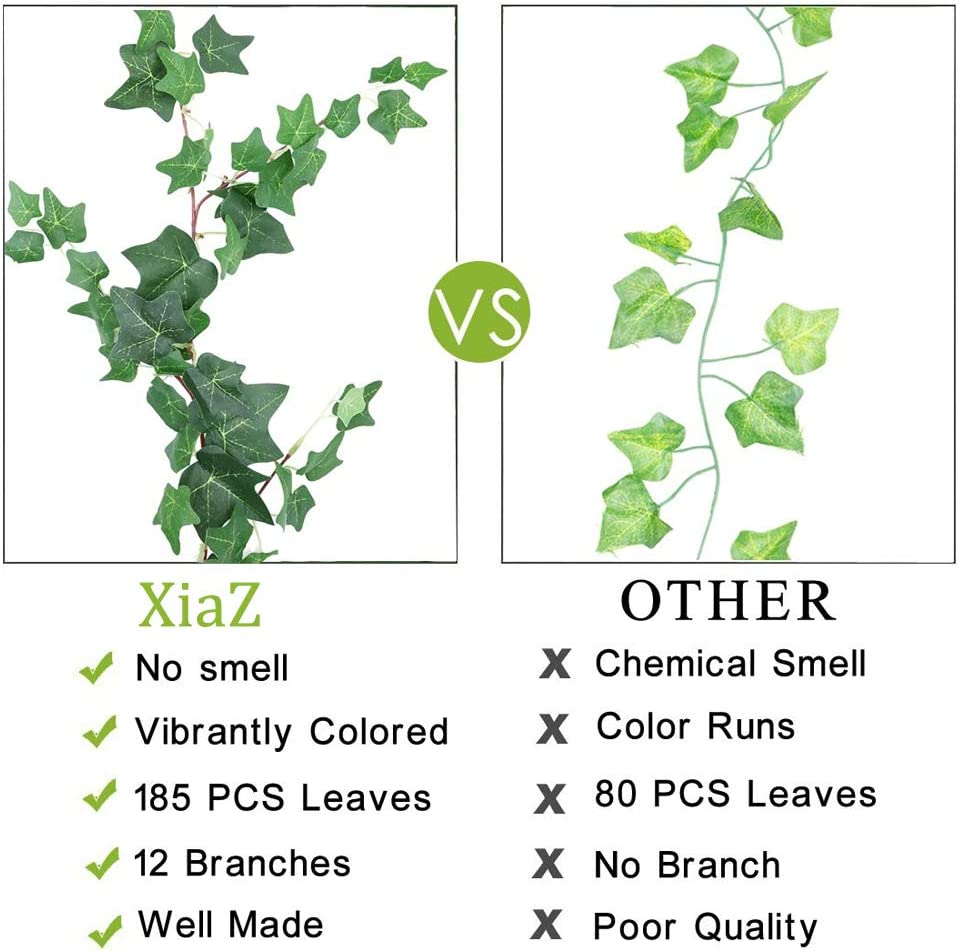 XiaZ 5.9 Artificial Ivy Leaves Greenery Garlands 2 Pack Fake Ivy Leaf Plant Garland Wedding Backdrops Garland in Green for Tables Chairs Wedding Arches Spring Backyard