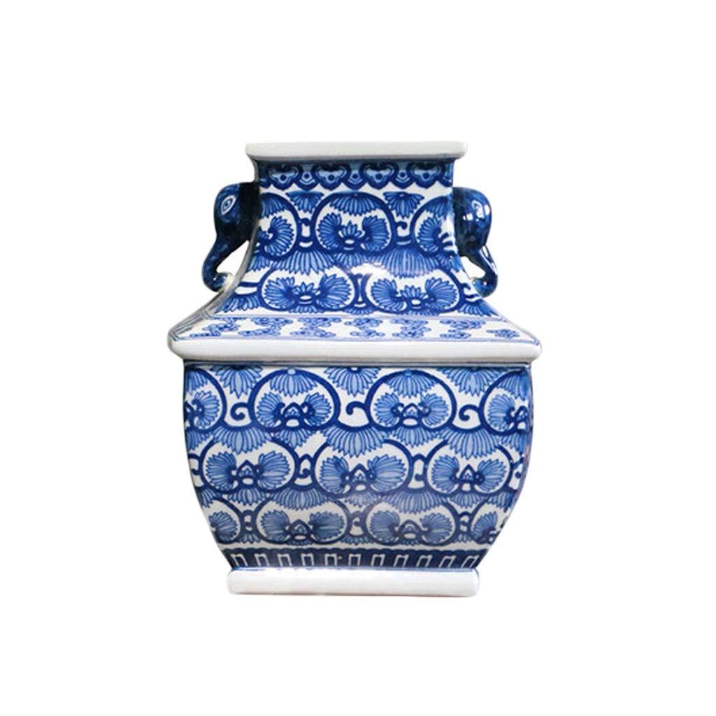 青と白のセラミックフラワーアレンジメント新しい中国の明と清王朝古典的な家の装飾デスクトップの装飾 LQX B07QXVPRDB