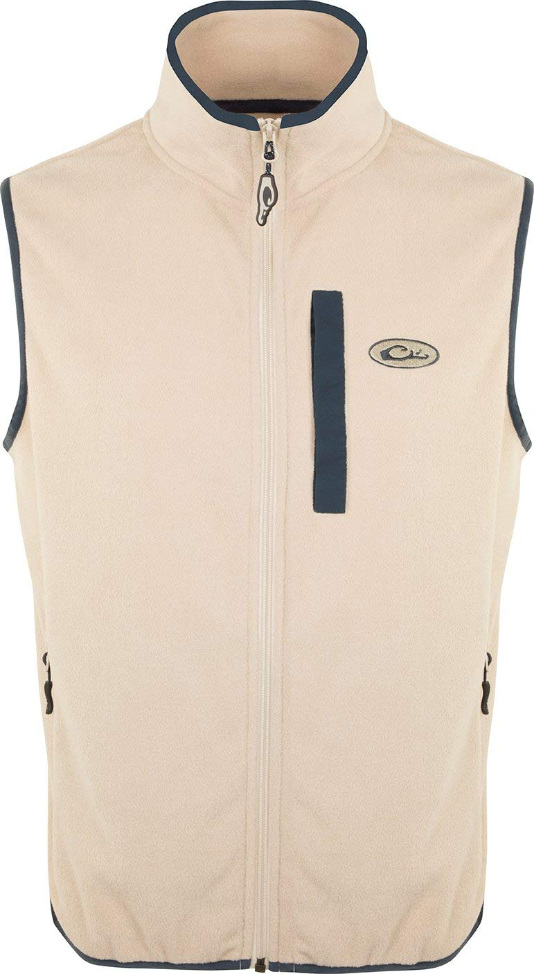 Drake Youth Camp Fleece Vest Oatmeal/Navy 10 by Drake
