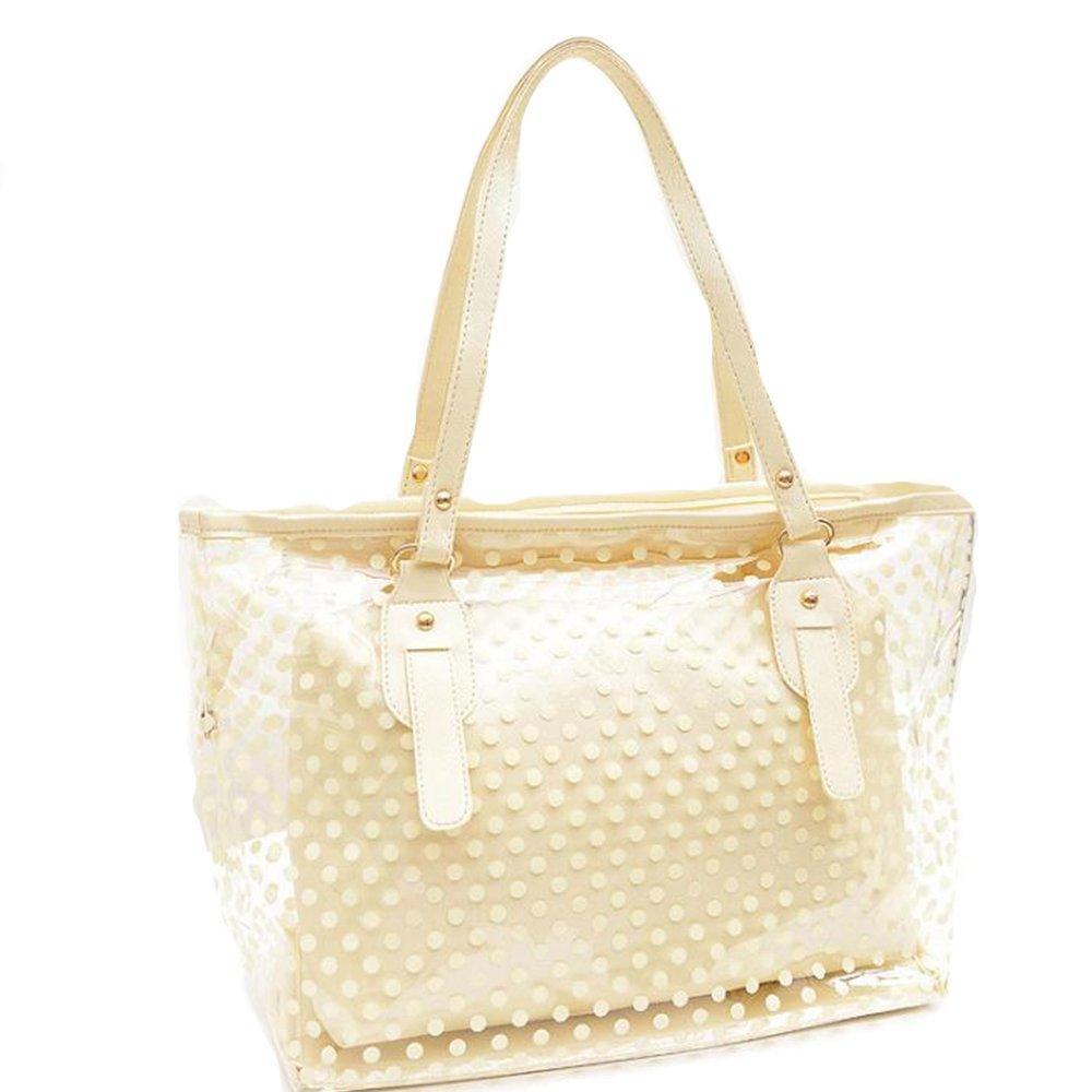 Manka Vesa Women's 2 in 1 Dots Clear Handbag Purse Tote Beach Shoulder Sling Bag Beige