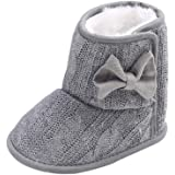 Wollanlily Baby Winter Snow Boots Premium Knit Anti-Slip Soft Sole Girls Boys Infant Toddler Prewalker Crib Shoes