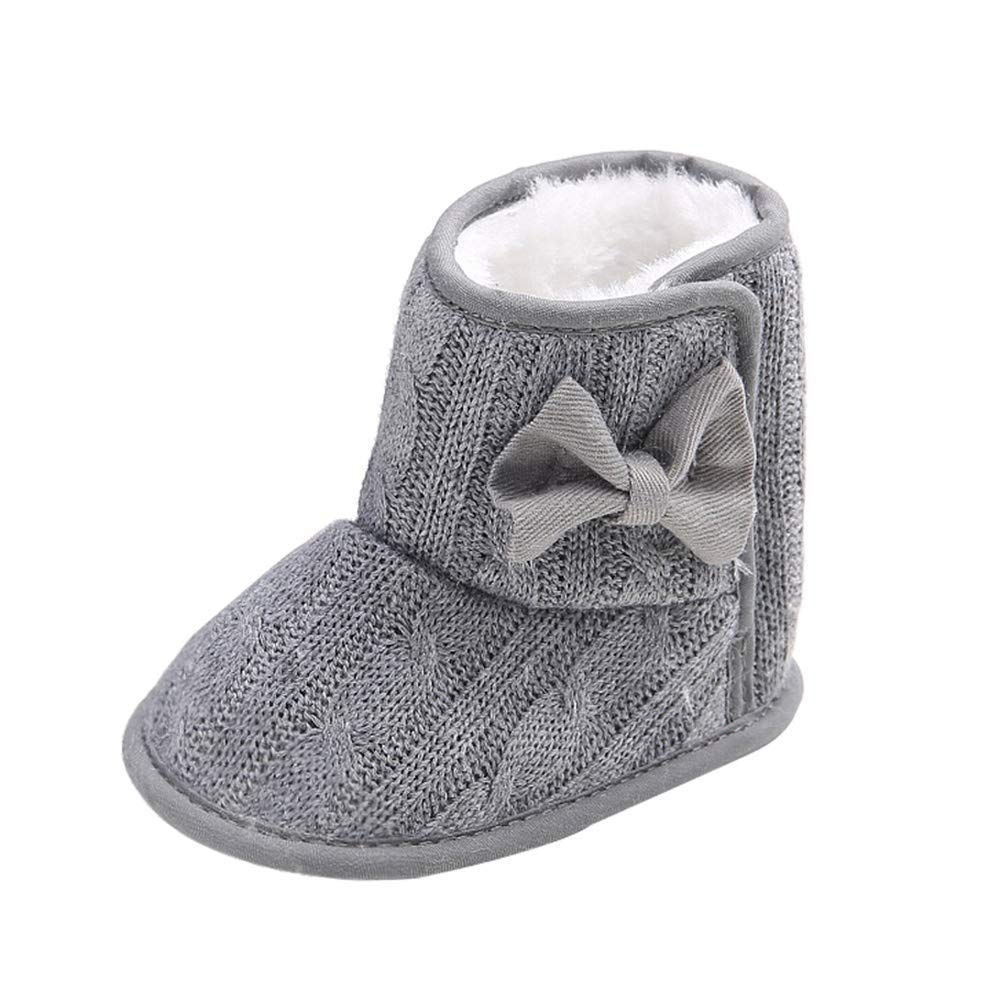 Wollanlily Baby Winter Snow Boots Premium Knit Anti-Slip Soft Sole Girls Boys Infant Toddler Prewalker Crib Shoes Gray)