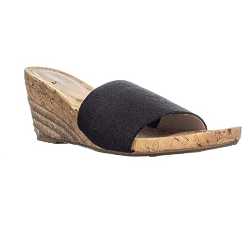 81f590fabe White Mountain Womens Aleah Cork Espadrille Wedge Sandals Black 5 Medium  (B,M)