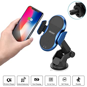 ZIGLINT Cargador Inalámbrico Coche, Rápido Cargador Qi de Móvil con Sensor Automático 10/7.5 / 5W Soporte para iPhone XR/X/8/8 Plus, Samsung Galaxy ...