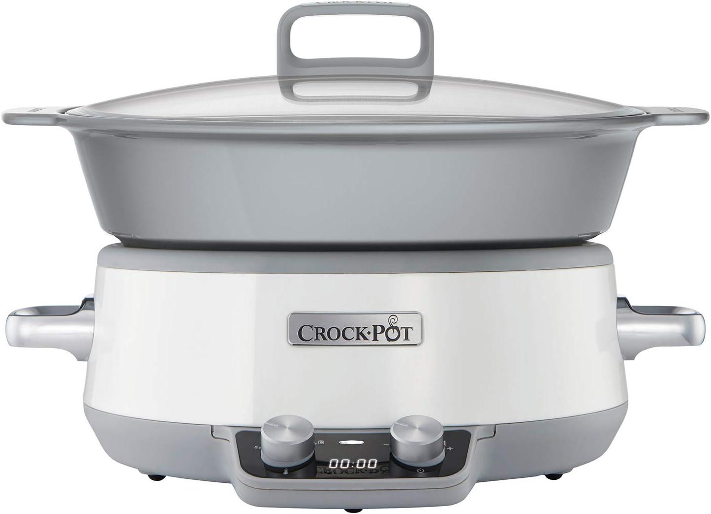 Crock-Pot Duraceramic CSC027X Olla de cocción Lenta Digital, Recipiente Compatible con Fuego e inducción, para Preparar Todo Tipo de Recetas, 6 litros, Acero Inoxidable, Blanco: Amazon.es: Hogar