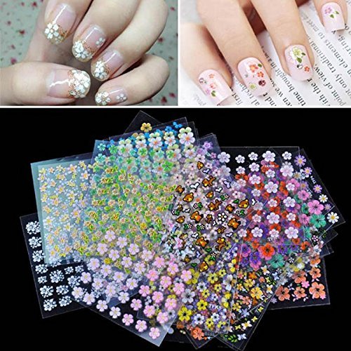 Spa Party Supplies For Girls Party Favors For Girls - 30 Pcs Floral Design Manicure Transfer Nail Art Tips Stickers Decals 3D Flowers Beauty Tickers For Nails - Girls Party Favors Sellify