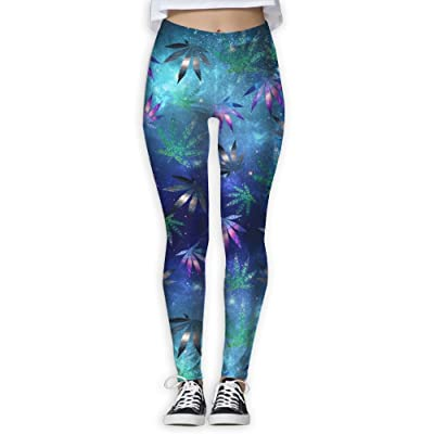 Oiybab Sofas Marijuana Weed Cannabis Leaf Galaxy Women's Full-Length Yoga Pants Fitness Workout Leggings Sizeykey