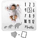 Cobija de Bebé Diseño Elefantes   Manta Mensual de Bebé   Cobija de Fondo Fotográfica   1 a 12 Meses   Incluye Babero y Marco