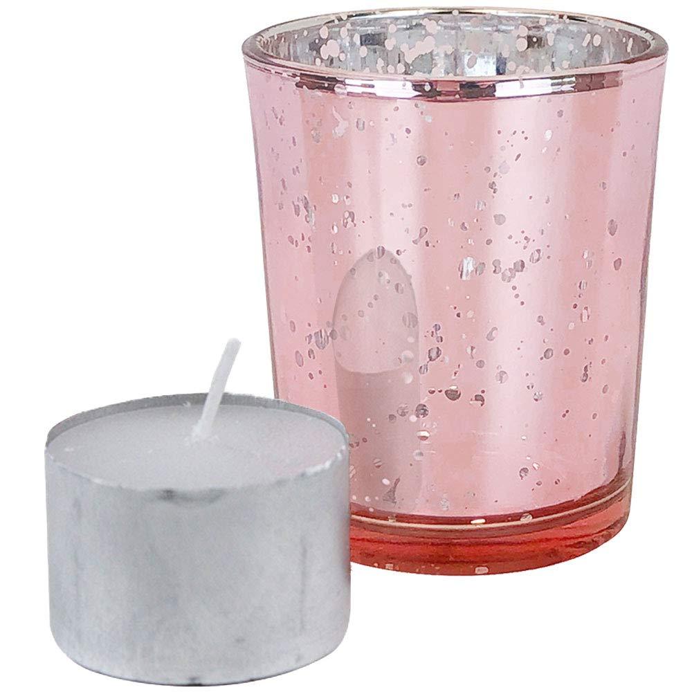 Just Artifacts Speckled Mercury GlassVotiveCandle Holder 2.75'' H(100pcs,Blush Votives) w/ 100pcs Wax Tea Light Candles Included
