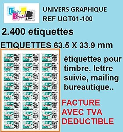 2400 étiquettes Pour Timbre 63,5 X 33,9 Mm Compatible Montimbre En ...