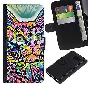 KLONGSHOP // Tirón de la caja Cartera de cuero con ranuras para tarjetas - Casa colorida de la mariposa abstracta del gato - Samsung Galaxy S6 //