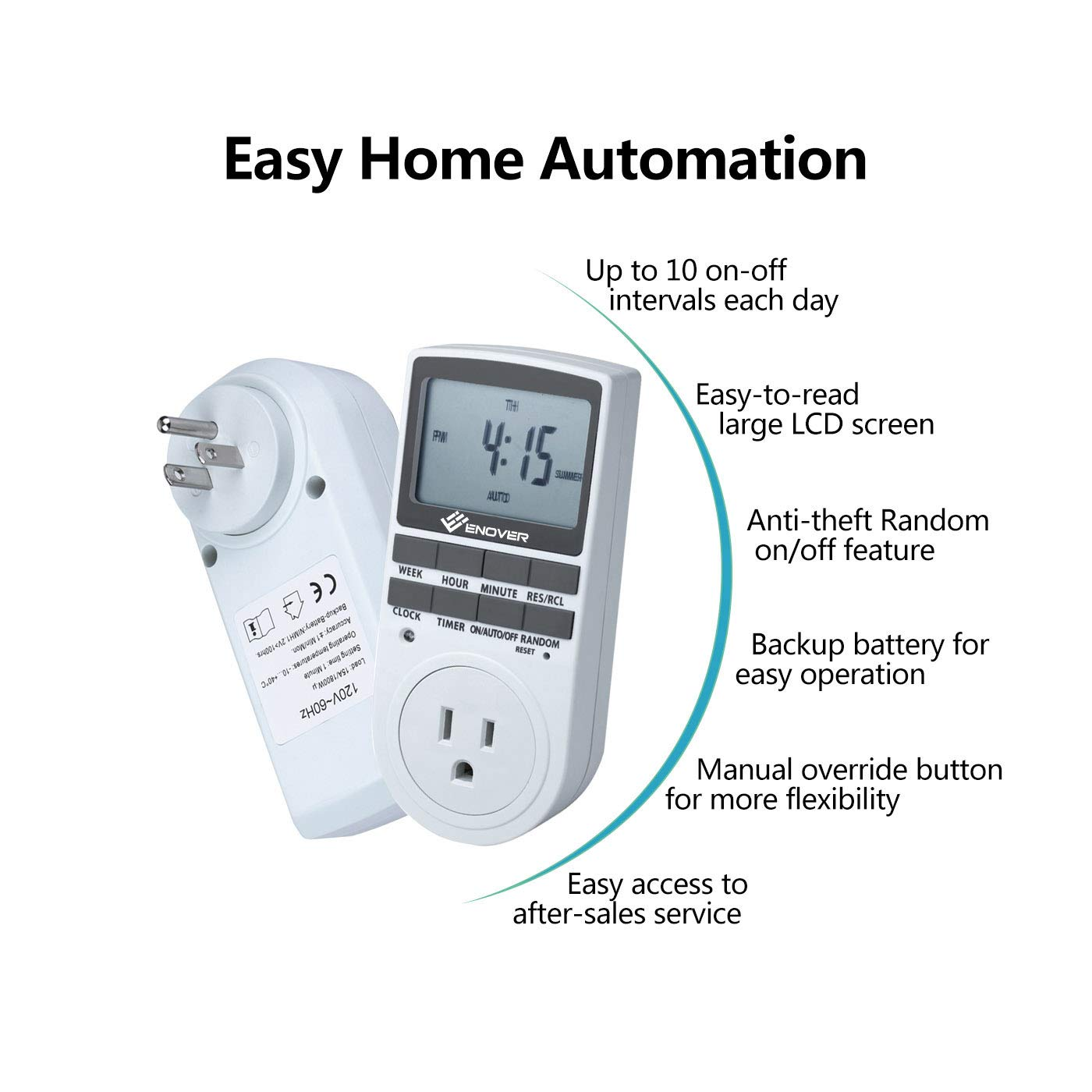 15A/1800W 7-day Programmable Plug-in Digital Light Timer Switch ...