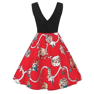 MMcloud Falda de Navidad Mujer Tirantes Vestido con Cuello en v ...