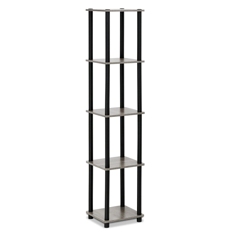 Furinno Turn-N-Tube 5-Tier Corner Square Rack Display Shelf, French Oak Grey/Black