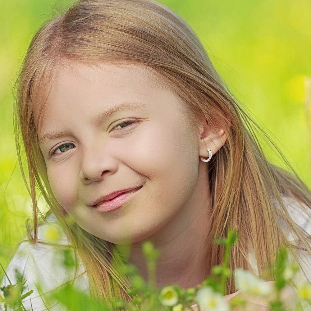 Petites boucles doreilles cr/éoles torsad/ées en argent sterling 925 pour filles ou adolescentes 1 cm