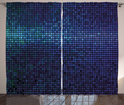 """Ambesonne Abstract Curtains, Disco Backdrop with Gradient Fractal Mosaic Little Squares Print, Living Room Bedroom Window Drapes 2 Panel Set, 108"""" X 90"""", Navy Blue"""