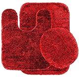 *RED*3PC BATHROOM SET RUG CONTOUR MAT TOILET LID COVER PLAIN SOLID COLOR BATHMATS