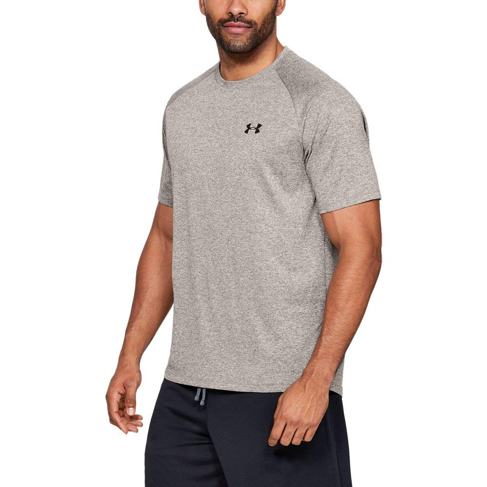 Under Armour mens Tech 2.0 Short Sleeve T-Shirt, Silt Brown Light Heather (221)/Black, Small by Under Armour