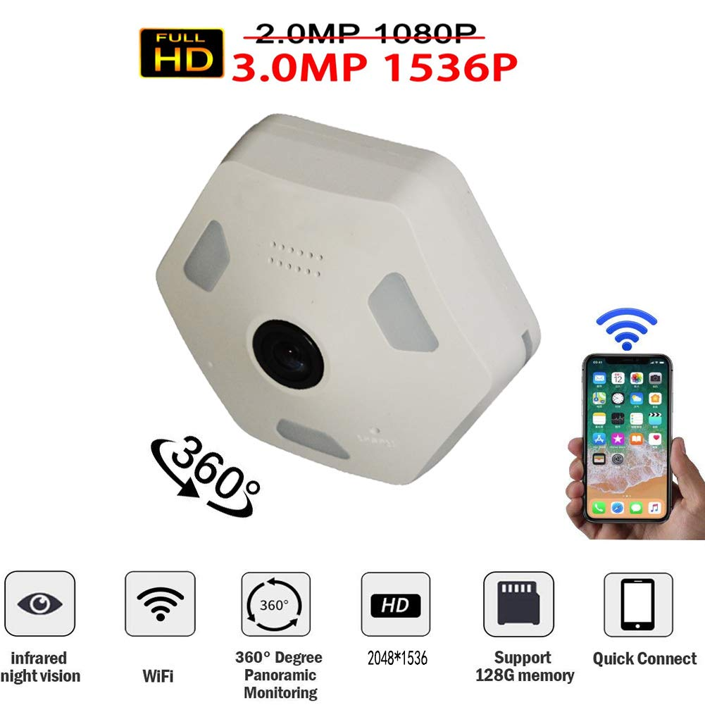 Douper All Dome Camera 360 Degree Panoramic Monitor 3.0 Million Pixels 1536P HD Fisheye Camera for iOS Android APP Remote Home Smart Security System
