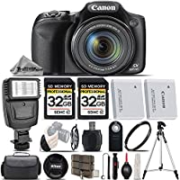 Canon PowerShot SX530 HS Digital Camera + Flash + Backup Battery + 2 Of 32GB Class 10 Memory Card + UV Protection Filter + Wireless Remote. All Original Accessories Included - International Version