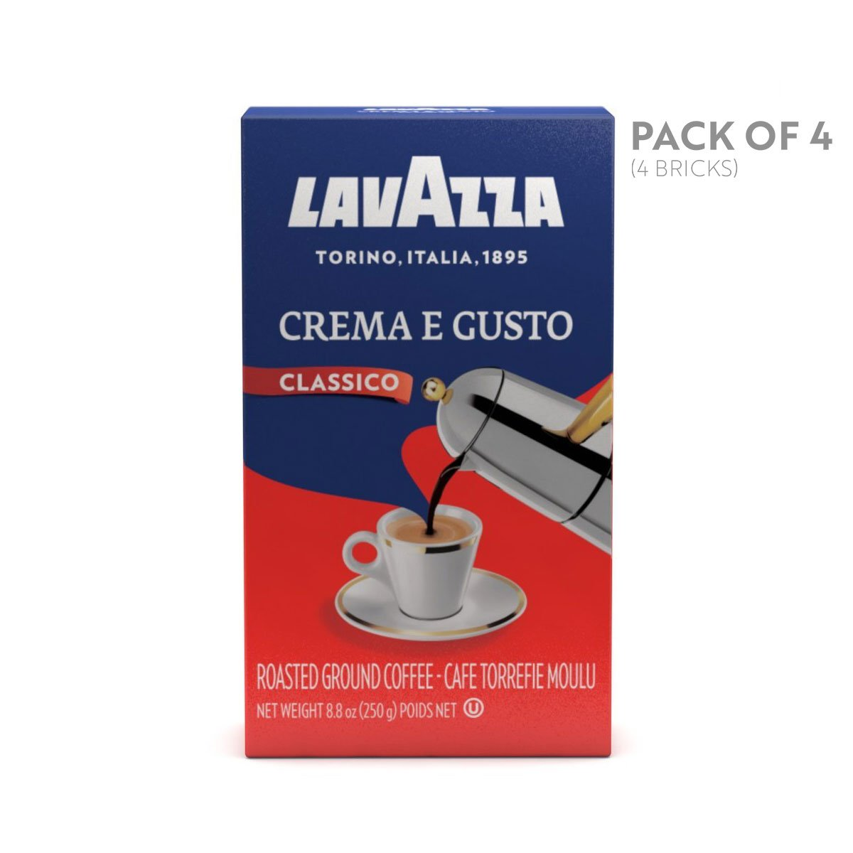 Lavazza Crema e Gusto Ground Coffee Blend, Espresso Dark Roast, 8.8-Ounce Brick (Pack of 4)