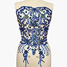 Noble Pure Handmade Big Beaded Crystal AB Blue Color patches Sew on Rhinestones with Stones Sequins Beads Bridal Applique Designs Patches Sewing for DIY Wedding Dress Trim 38x56cm
