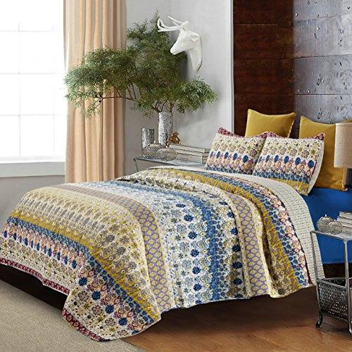Hedaya Home Fashions 372 3ST Jazmin Reversible Quilt Set, Boho Patchwork Stripe Design, 3-Piece Set Quilt Pillow Shams - King
