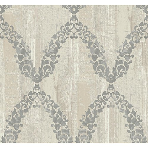 York Wallcoverings CS3523 Fells Point Garland Trellis Wallpaper Beige White