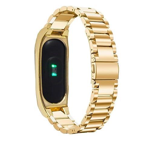 Pinhen - Correa de repuesto de acero inoxidable para reloj inteligente Xiaomi Mi Band 2,