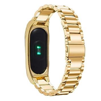 Pinhen - Correa de repuesto de acero inoxidable para reloj inteligente Xiaomi Mi Band 2, con marco de metal: Amazon.es: Electrónica