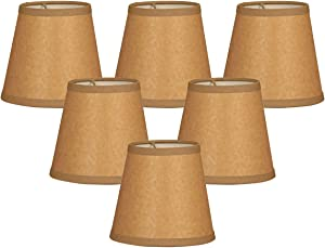 "Royal Designs 5"" Parchment Empire Brown Chandelier Lamp Shade, Set of 6, 3 x 5 x 4.5 (CS-952-5BR/P-6), Brown 5in, Set of 6"