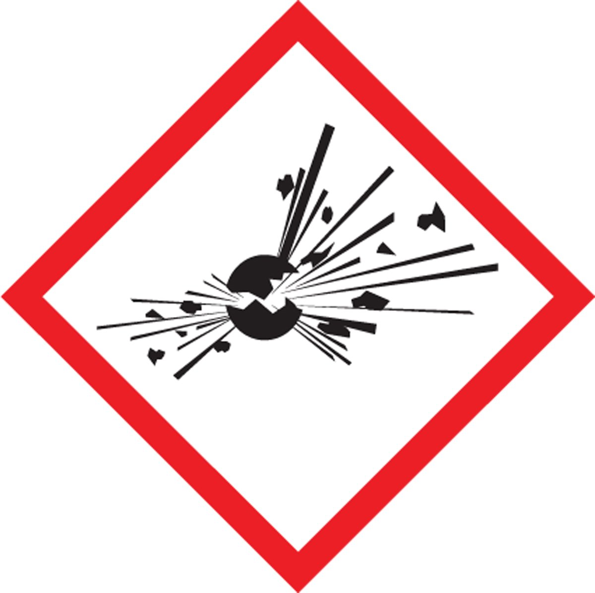 "Accuform LZH603EV5 GHS Label, EXPLODING BOMB Pictogram, 1"" x 1"", Adhesive Poly, 500/Roll (Pack of 500)"