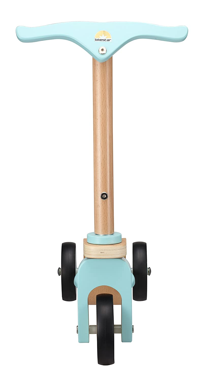 BIKESTAR Patinete Patineta Scooter Infantil para niños y niñas con 3 Ruedas a Partir de 3 años | Edición Madera Natural | Azul Cielo