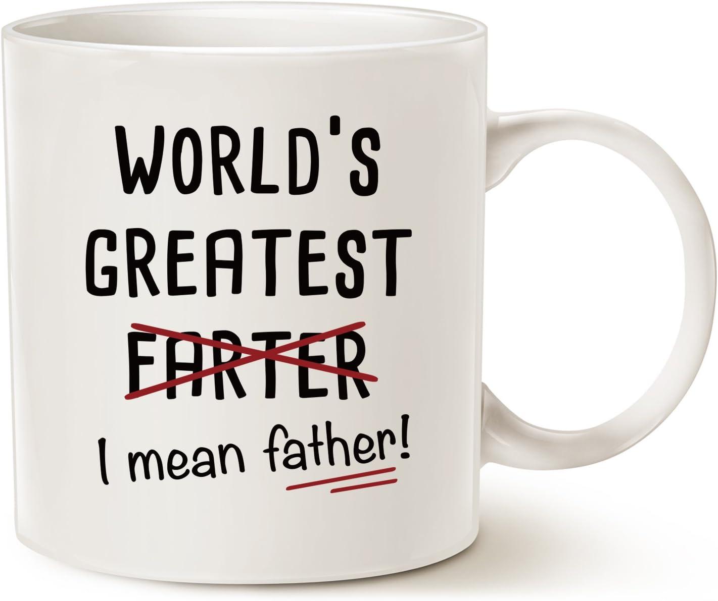 MAUAG Divertida taza de café de Papá Noel Regalos – El más grande del mundo más Farter I Media Padre – Mejores regalos de oficina y hogar para papá taza de porcelana blanco, 14 oz por LaTazas