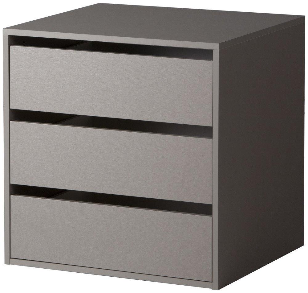 Cassettiera interna armadio 3 cassetti accessorio legno grigio ...
