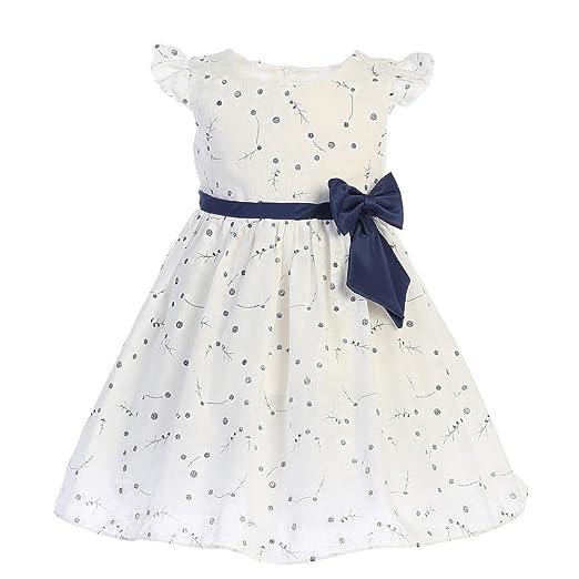 Amazon Swea Pea Lilli Baby Girls White Navy Ribbon Bow Cotton