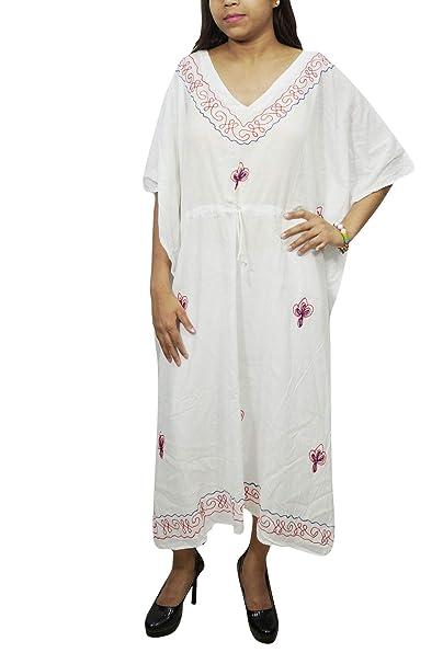 112816fbbd Image Unavailable. Image not available for. Color  Mogul Interior Womens  Kaftan Maxi Dress White Embroidered Kimono Boho Caftan L