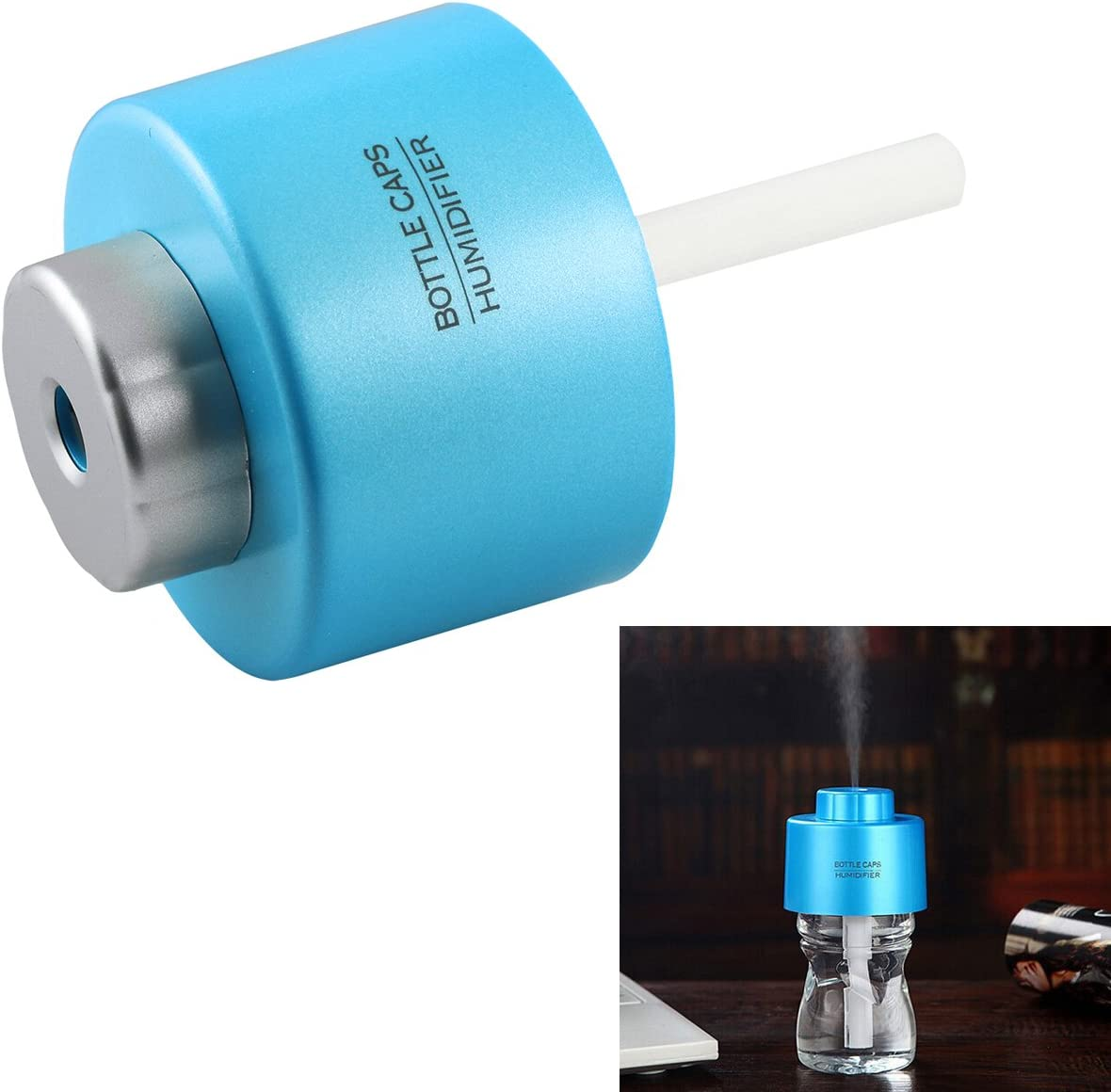 Mini Portable Bottle Cap Air Humidifier with USB Cable for Office Home, White