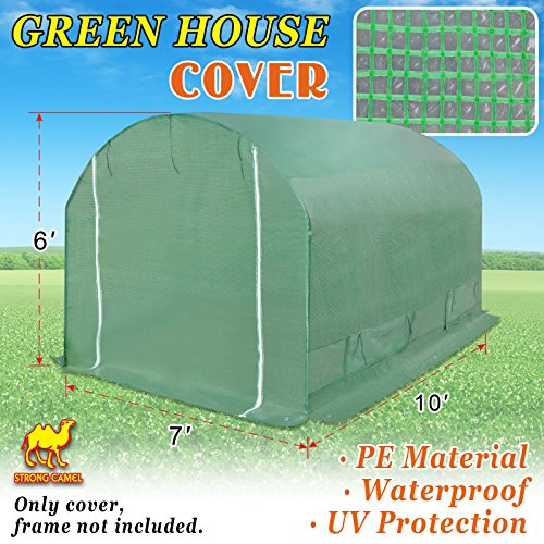 - Strong Camel Replacement Cover for 10' x 7' x 6' Larger Walk in Outdoor Plant Gardening Greenhouse Green Color (Frame Does NOT Included)