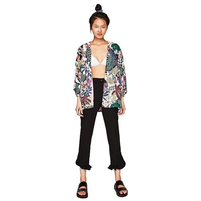 DEELIN Camisa De La Planta De La Flor De La Gasa De La SeñOra Kimono De