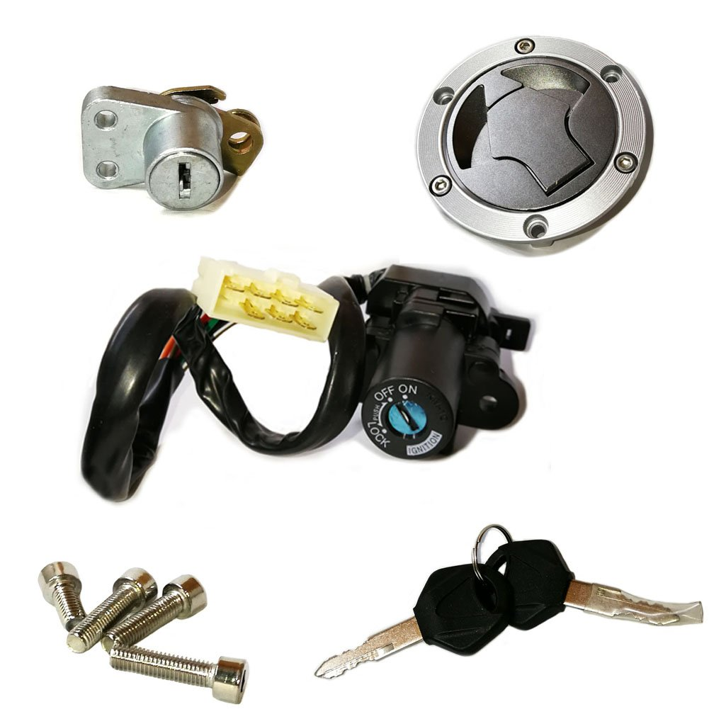 Unlimited Rider Ignition Switch Lock Fuel Gas Cap Cover Seat Lock Keys Set For Kawasaki Ninja 300 EX300A SE 14-17 | Ninja 300 EX300A 13-17 | Ninja 300 EX300B ABS 2013-2014 | Ninja 250R 2008-2012 by UnlimitedRider (Image #1)