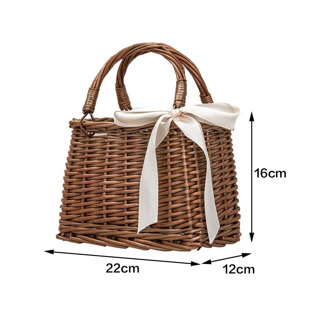 sac /à main tiss/é en rotin de style r/étro Sac /à main panier de rangement sac /à lunch box pour plage Waroomss Sac /à main en rotin