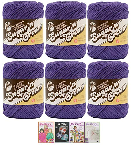 Bulk Buy: Lily Sugar'n Cream Yarn 100% Cotton Solids and Ombres (6-Pack) Medium #4 Worsted Plus 4 Lily Patterns (Grape 00071)