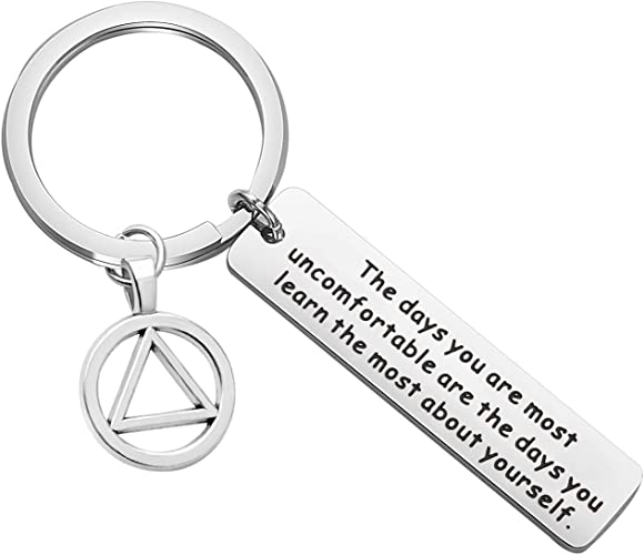 Sobriety Keychain Gift One Day at a Time Keychain AA Gift NA Recovery Sobriety Alcoholics Anonymous Recovery Gifts New Beginnings Gift Sober Anniversary Gift