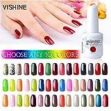 Vishine Pick Any 10 Colors Soak-off UV LED Gel Nail Polish Base Top Coat 10Pcs × 15ml