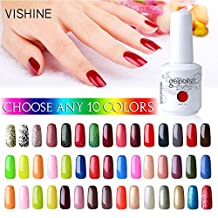 Vishine Pick Any 10 Colors Soak-off UV LED Gel Nail Polish Base Top Coat 10Pcs × 15ml