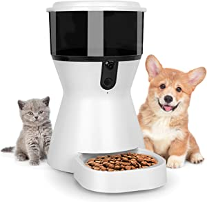 Automatic Cat Feeder with Rotating HD Pet Camera 2.4G WiFi Enabled Smartphone, Schedule Meals Feeding Timer for Cat and Dog, Audio Voice Recorder, Smart Pet Food Dispenser
